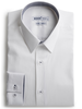 XOOS Men's white shirt woven navy and gray lining