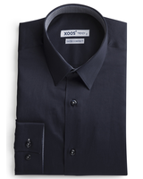 XOOS Men's navy blue shirt woven navy and gray lining