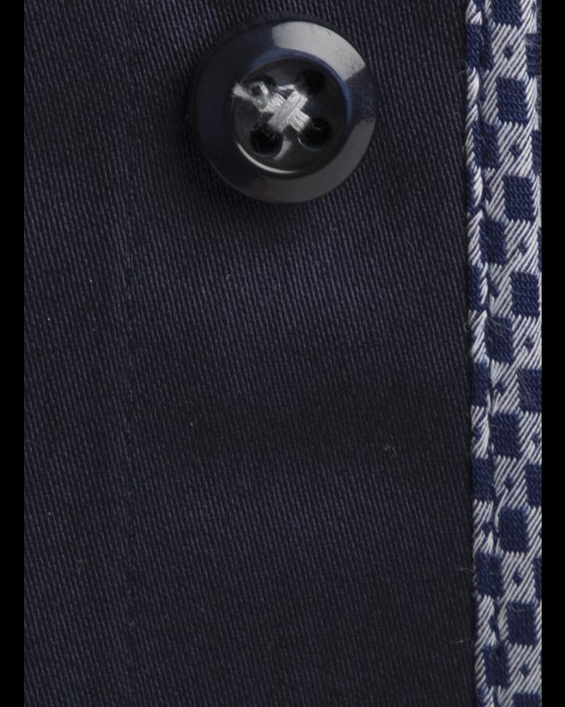 XOOS Chemise homme bleu marine doublure à motifs tissés navy et gris