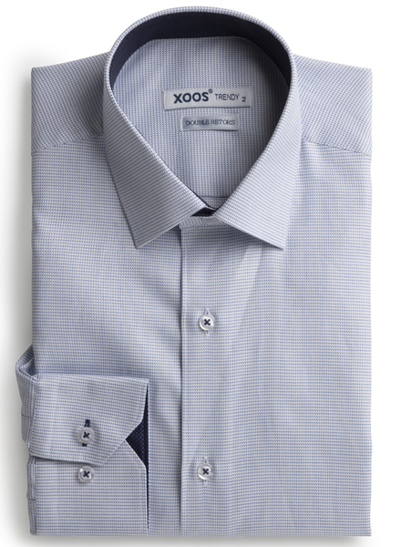 XOOS Men's woven light blue shirt navy lining (Double Twisted)