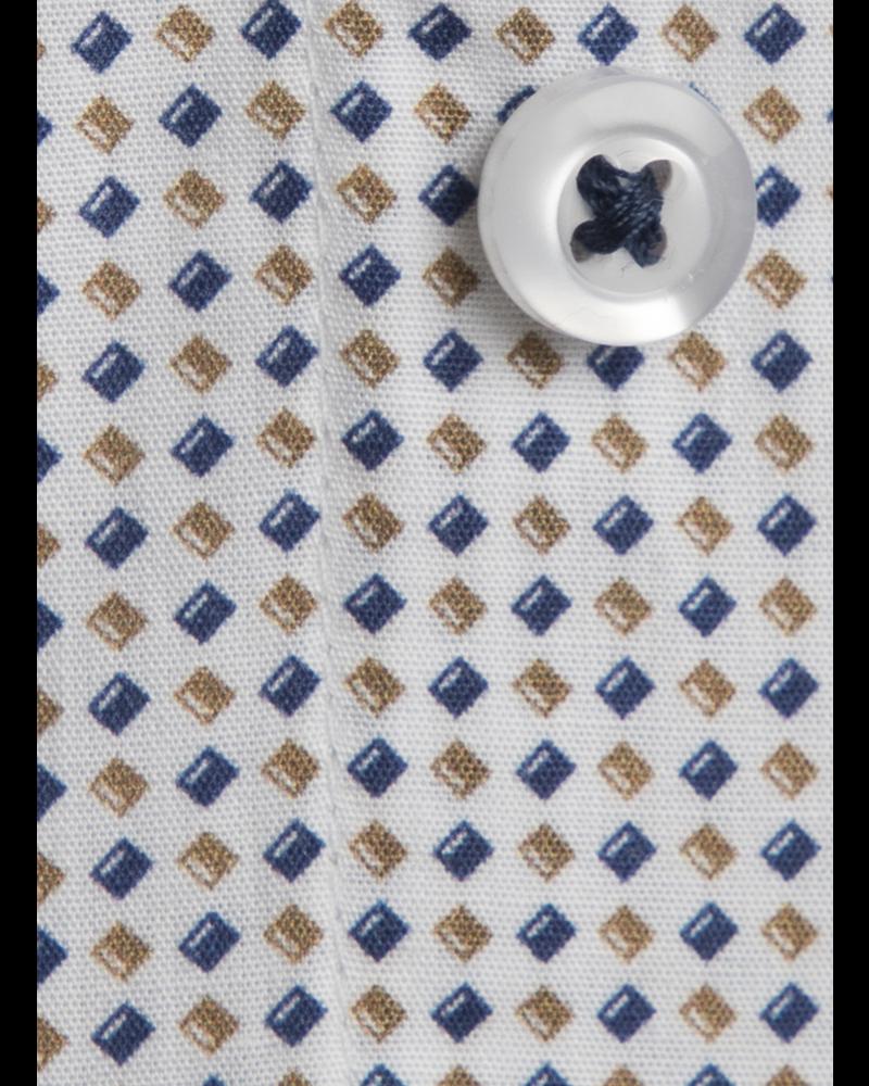 XOOS Chemise homme à motifs imprimés diamants beige et navy