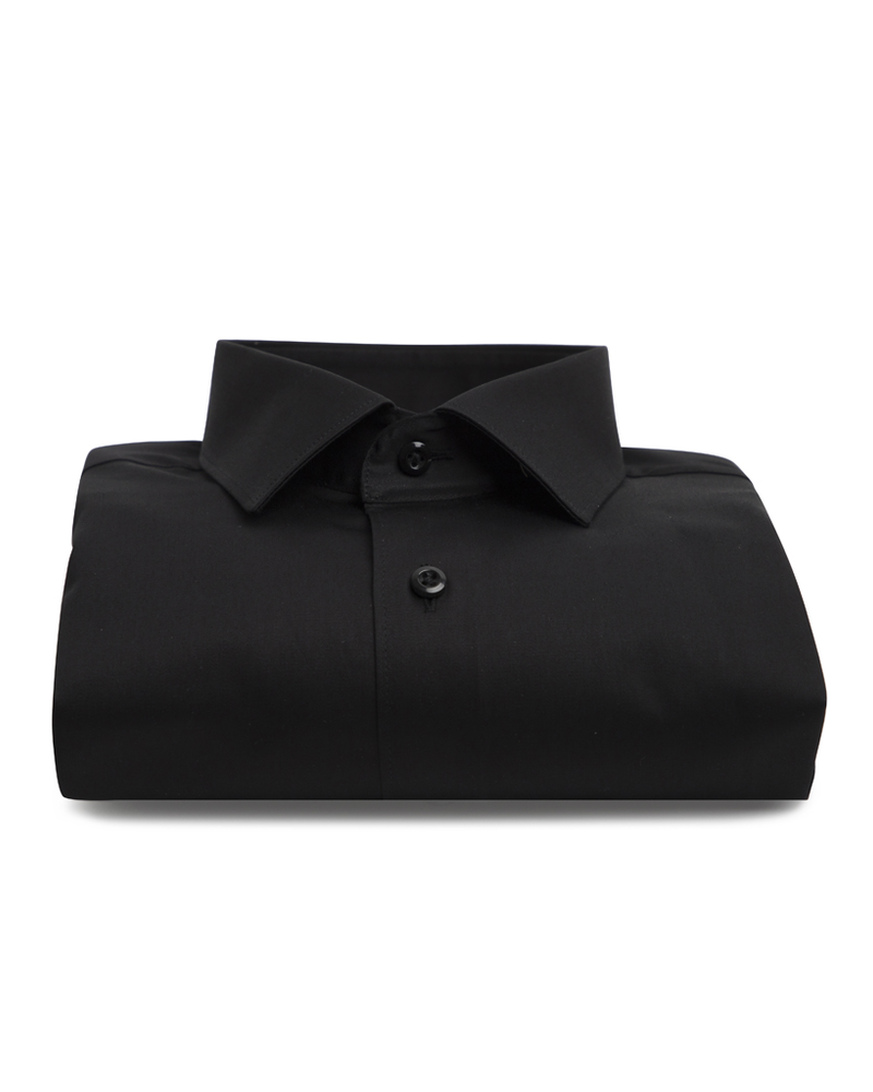XOOS Men's black fitted dress shirt