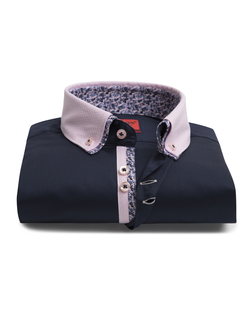 XOOS Men's navy dress shirt double collar and floral lining