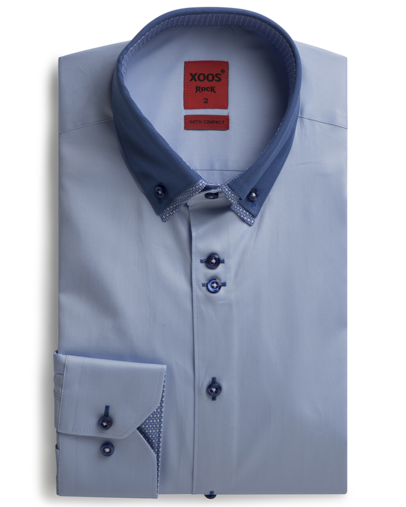 XOOS Men's light blue dress shirt double collar and patterned print lining