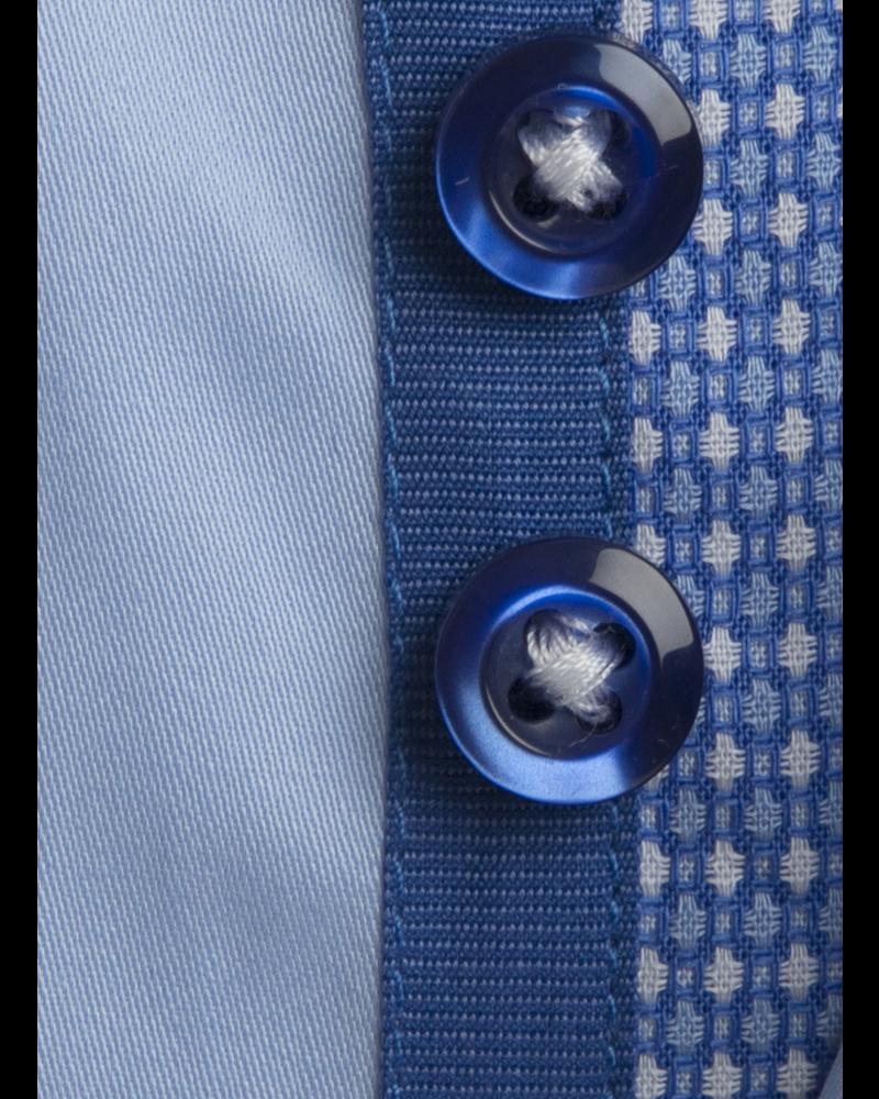 XOOS Chemise homme ciel à double col doublure bleue à motifs imprimés