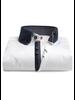XOOS Chemise homme blanche à double col doublure navy à motifs imprimés