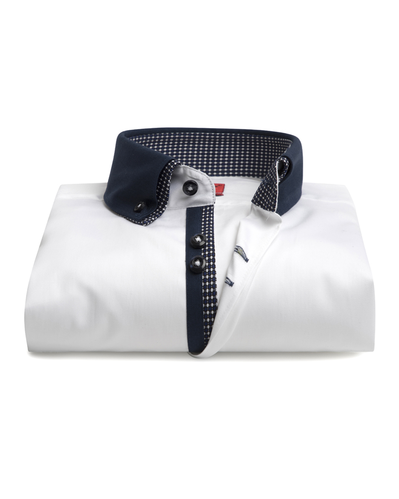 XOOS Men's white dress shirt double collar and navy patterned print lining