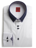XOOS Men's white dress shirt double collar and pink floral lining