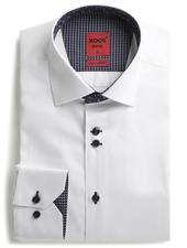 XOOS Men's white dress shirt navy floral lining