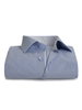XOOS Men's blue fitted pinsstriped dress shirt polka dots lining