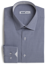 XOOS Men's navy blue fitted Houndstooth dress shirt jacquard lining