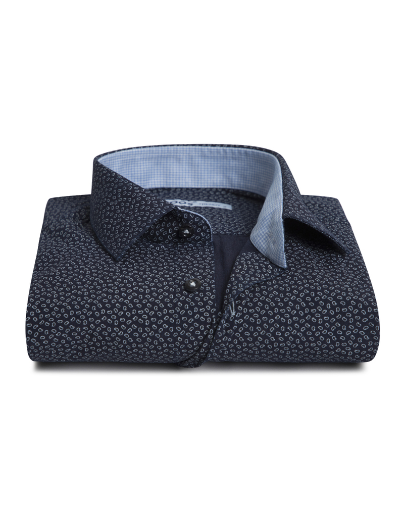 XOOS Men's navy blue fitted dress shirt paisley print and lightblue gingham lining