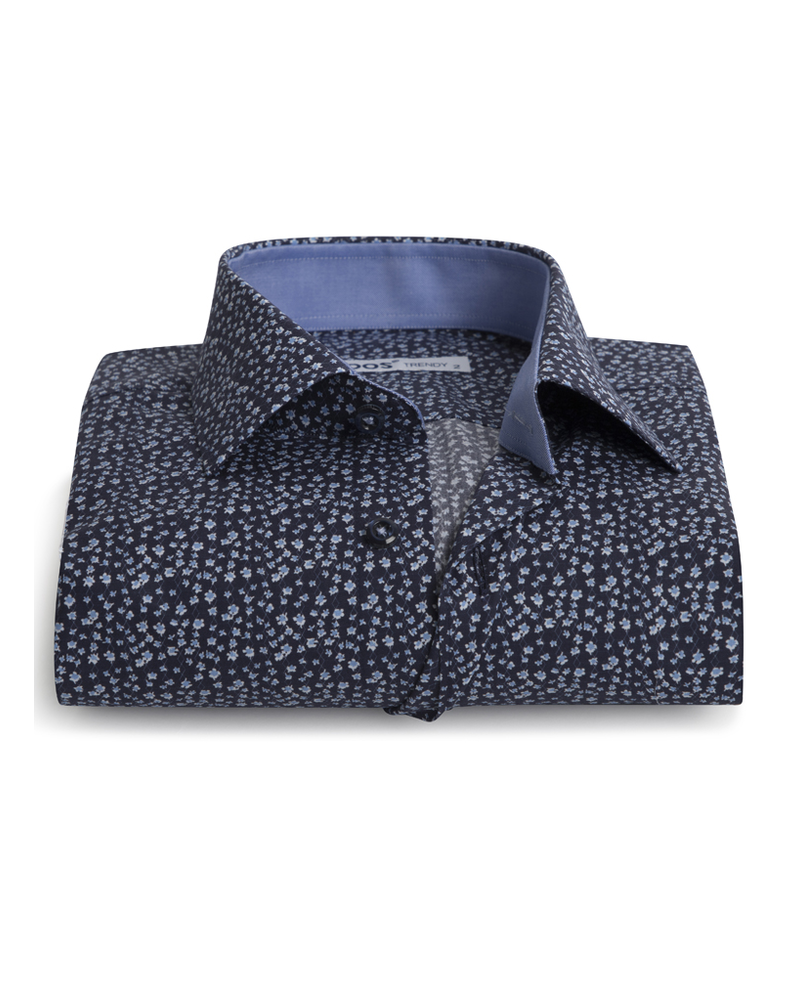 XOOS Men's navy blue fitted dress shirt flower print and lightblue chambray lining