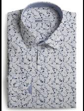 XOOS Chemise homme à motifs imprimé cerisier bleus doublure chambray ciel