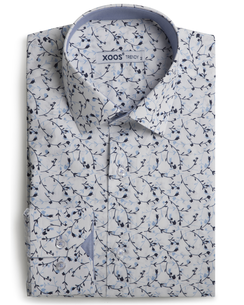 XOOS Men's fitted dress shirt cherry flower print and lightblue chambray lining