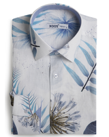 XOOS Chemise homme imprimé à feuilles bleues doublure chambray ciel