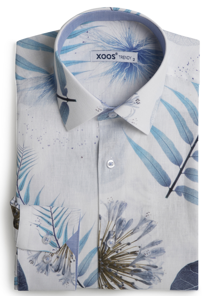 XOOS Men's fitted dress shirt blue leaves print and lightblue chambray lining