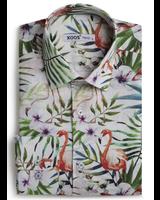 XOOS Men's fitted dress shirt tropical flamingo print