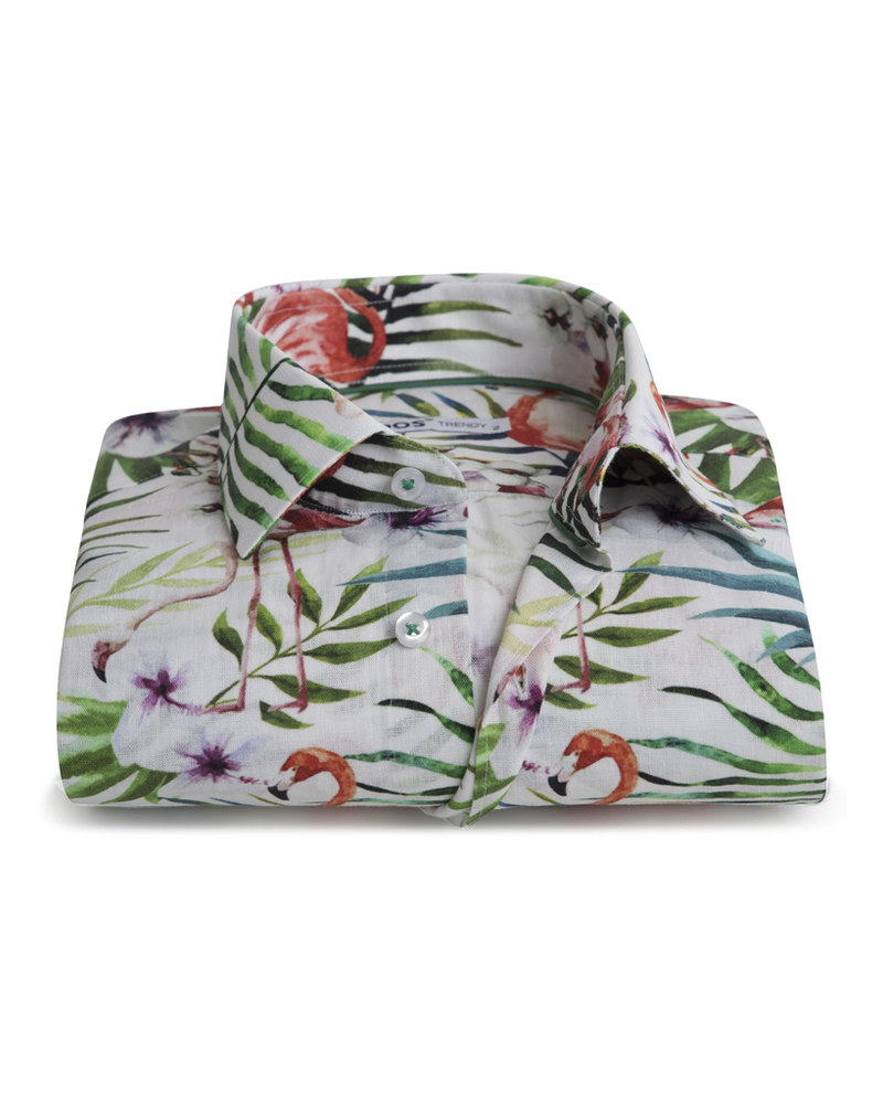 XOOS Men's fitted dress shirt tropical flamingo print