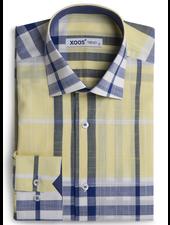XOOS Chemise homme à carreaux fenêtre jaunes et bleus