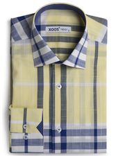 XOOS Men's fitted yellow and blue checkered shirt