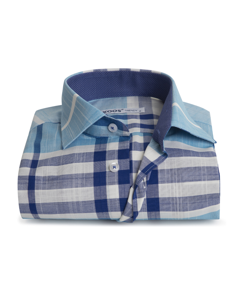 XOOS Men's fitted turquoise and blue checkered shirt