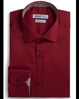 XOOS Burgundy fitted dress shirt flower lining