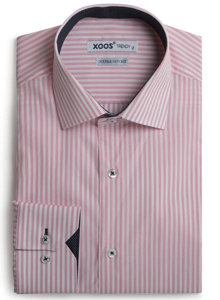 XOOS Chemise homme à rayures roses doublure navy à micro pois (Double Retors)