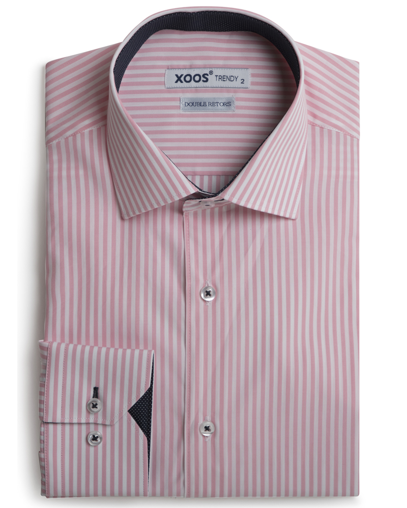 XOOS Pink striped shirt navy micro dots lining (Double twisted)