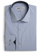 XOOS Light blue striped shirt navy micro dots lining (Double twisted)