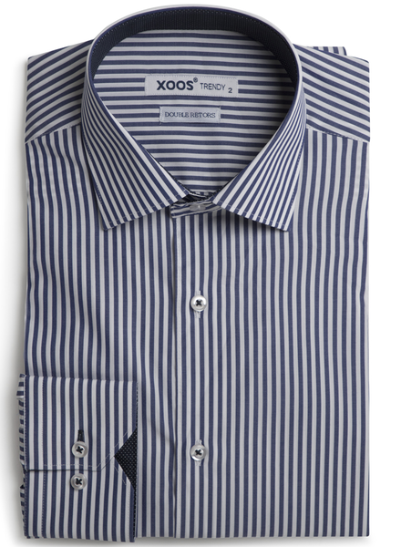 XOOS Navy striped shirt navy micro dots lining (Double twisted)