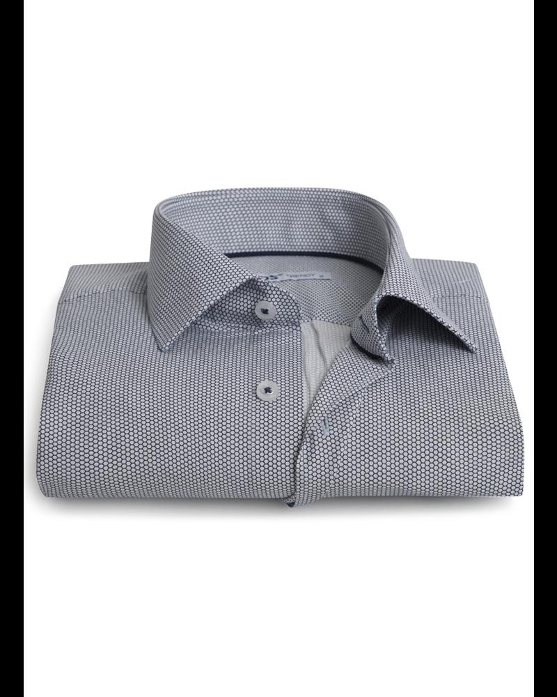 XOOS Navy honeycomb print shirt navy collar braid