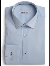 XOOS Turquoise honeycomb print shirt navy collar braid