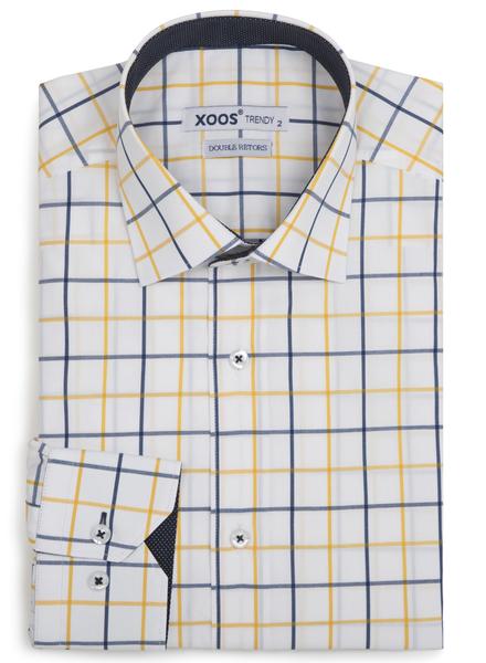 XOOS Chemise homme à carreaux jaunes et navy doublure à pois (Double Retors)