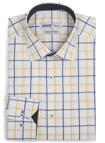 XOOS Men's Yellow and navy checkered fitted dress shirt navy lining (Double Twisted)