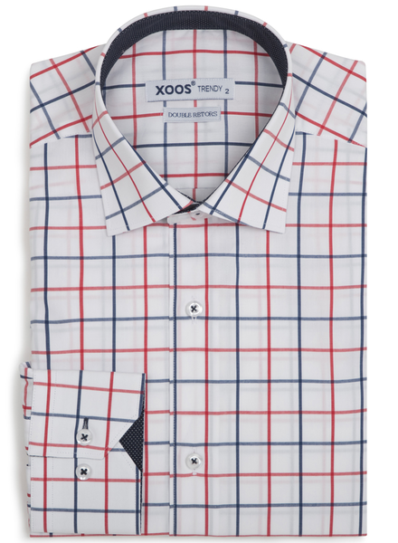 XOOS Men's red and navy checkered fitted dress shirt navy lining (Double Twisted)