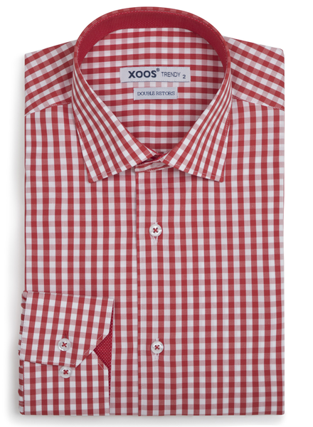 XOOS Men's red gingham checkered fitted dress shirt polka dots lining (Double Twisted)