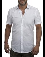 XOOS Men's white short sleeve dress shirt floral lining