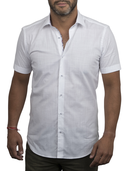 XOOS Men's white short sleeve dress shirt floral lining