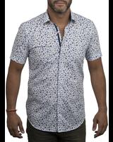 XOOS Men's navy prints short sleeve dress shirtnavy paisley lining
