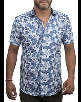 XOOS Men's blue Hawaiian floral prints short sleeve dress