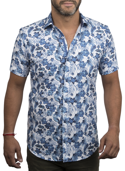 XOOS Men's blue Hawaiian floral prints short sleeve dress