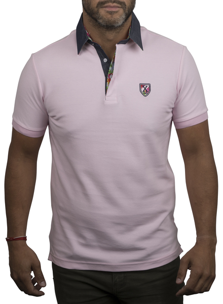 XOOS Pink polo shirt for men floral lining