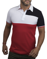 XOOS Polo homme patchwork bleu blanc rouge