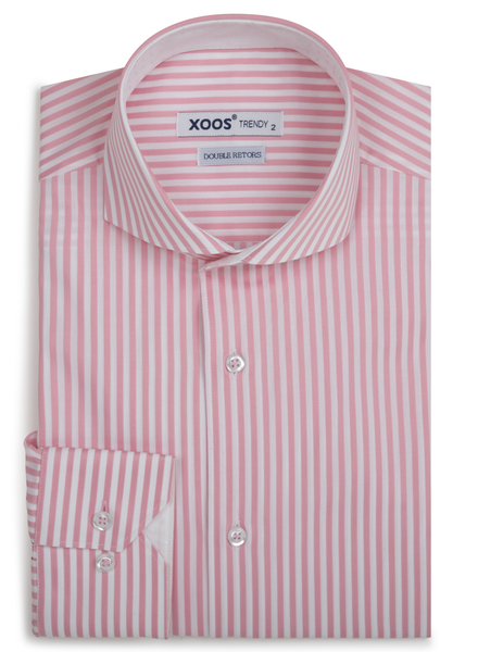XOOS Men's pink striped fitted dress shirt Full spread collar (Double Twisted)
