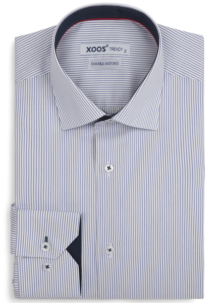 XOOS Men's navy fine stripes fitted dress shirt (Double Twisted)