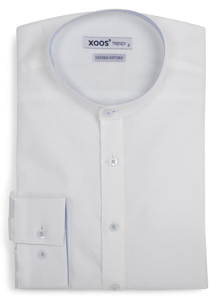 XOOS Men's white shirt officer collar blue lining