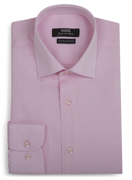 XOOS Chemise homme rose en coton piqué - Corporate Series (Double Retors)