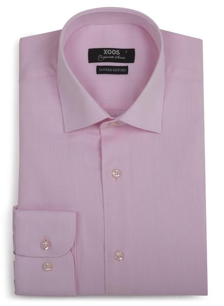 XOOS Men's pink piqué cotton dress shirt (Double Twisted)
