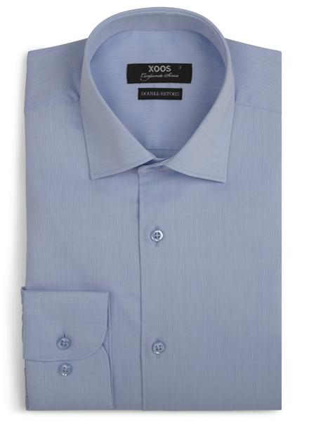 XOOS Men's light blue piqué cotton dress shirt (Double Twisted)